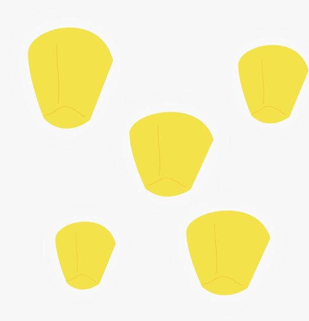 卡通手绘黄色孔明灯