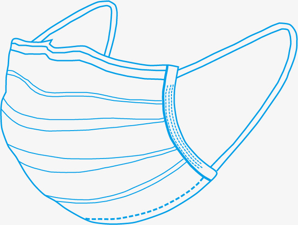 蓝色手绘线条口罩