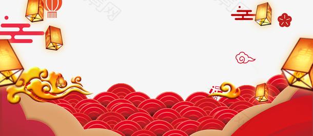 立体创意中国风祥云底纹装饰