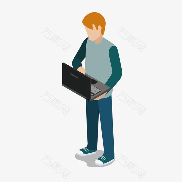 看电脑男人人物模型
