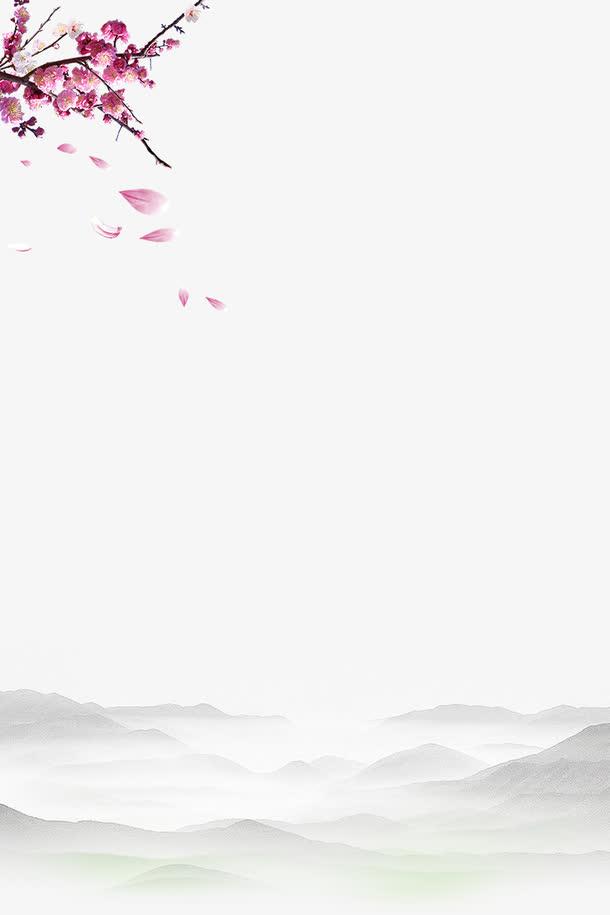 手绘水墨山水与手绘桃花边框