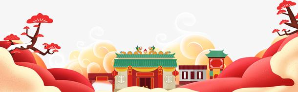 春节新年大门梅花云彩祥云