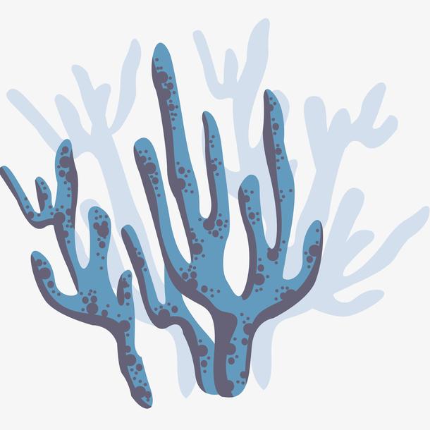 水彩蓝色珊瑚插画