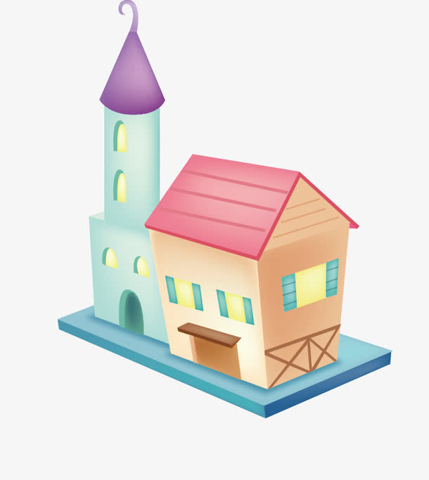 卡通立体城市建筑