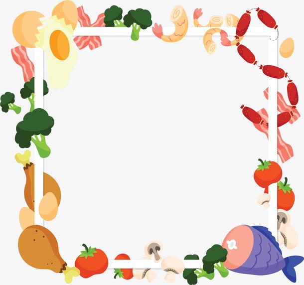 美味食材烹饪边框