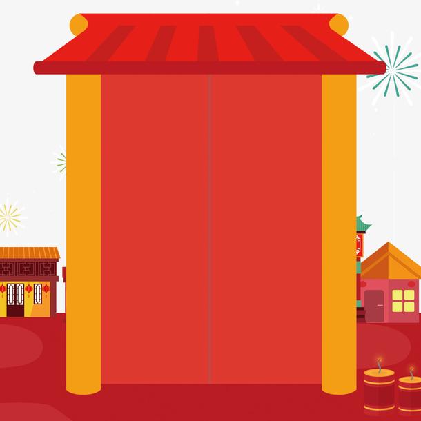 春节喜庆大门装饰背景