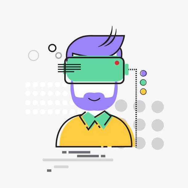 商务男人矢量简约科技眼镜