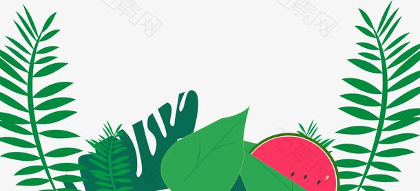 绿色卡通手绘叶子西瓜