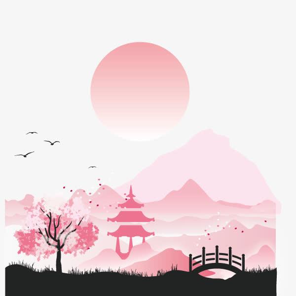 中国风背景 淡粉色 桃花