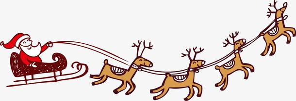 矢量图拉雪橇的小鹿