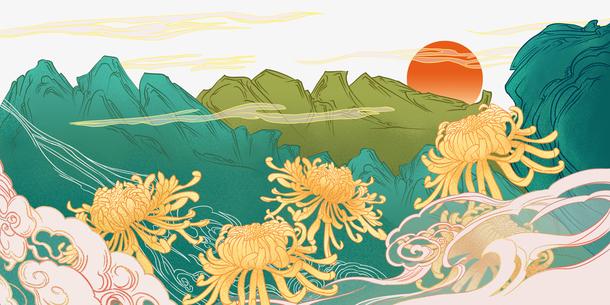 国潮菊花重阳节手绘元素