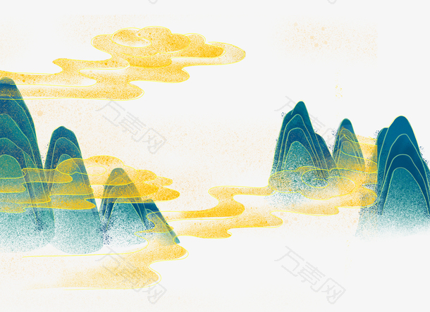 国潮元素山云