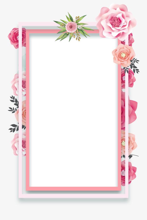 春天3D立体清新花朵装饰边框设计