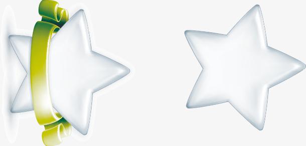手绘精美白色五角星矢量