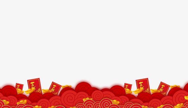 2018新年边框设计红包与祥云