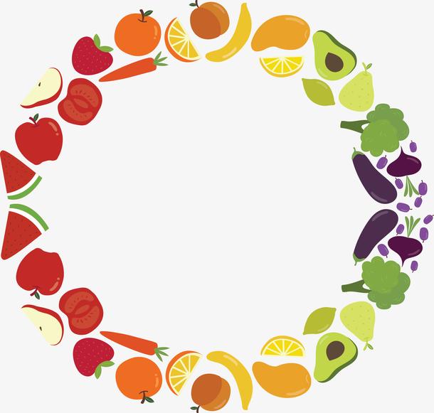 彩虹卡通食物边框