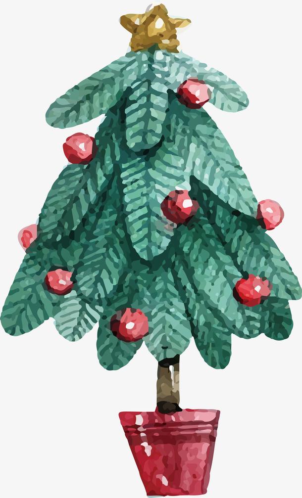 水彩盆栽圣诞树