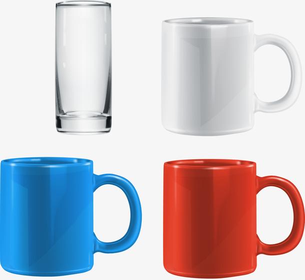 矢量杯子水杯蓝色红色素材