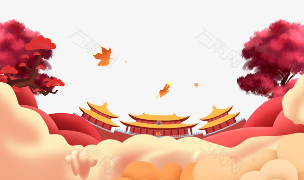 红色复古中秋国庆节banner