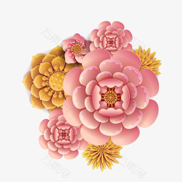手绘卡通中国风立体彩色鲜花