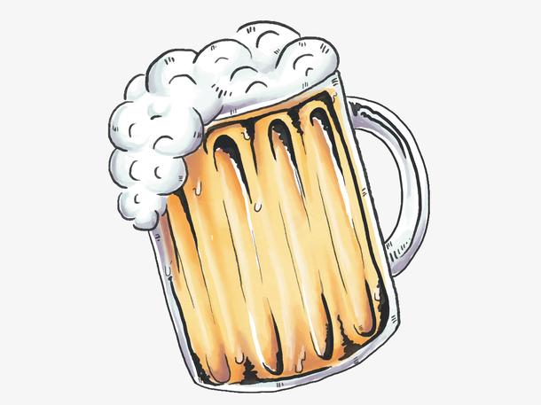 夏日啤酒水果汁饮料手绘夏季饮料