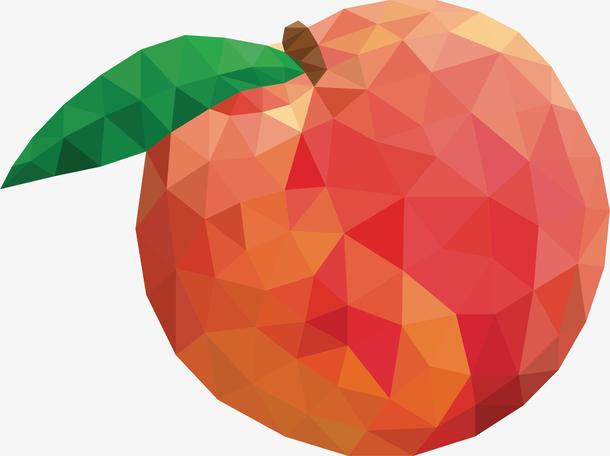 低多边形几何矢量水果桃子素材
