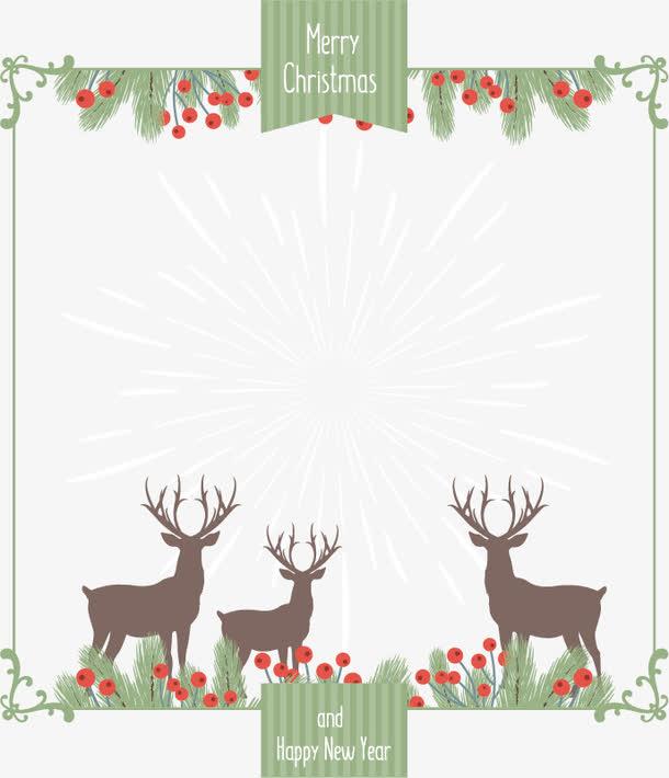 草地上的驯鹿卡片