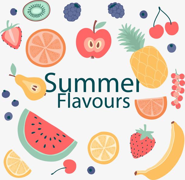 矢量手绘夏日水果