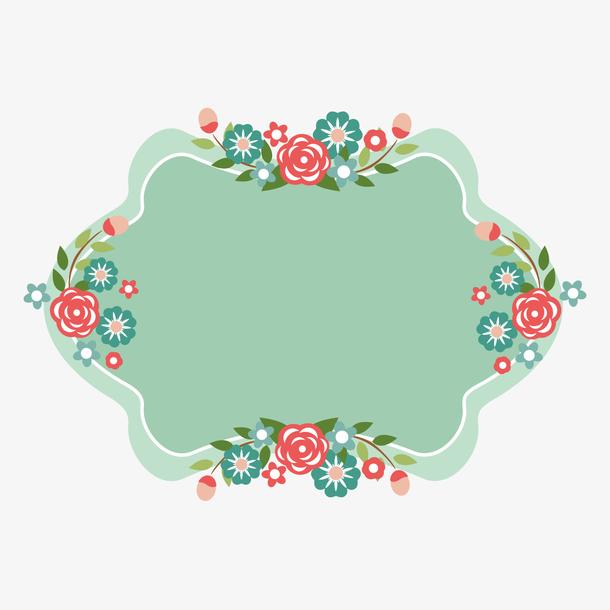 母亲节四朵花朵装饰和绿色背景