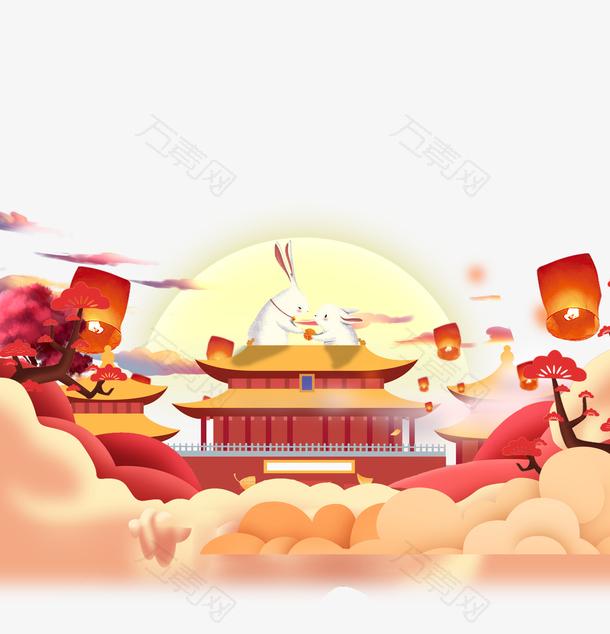 中秋手绘中国风海报装饰背景元素