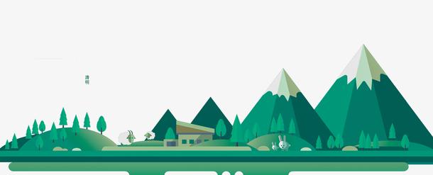 卡通手绘清明节绿色背景
