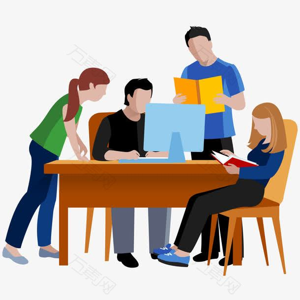 男女学生学习讨论插画