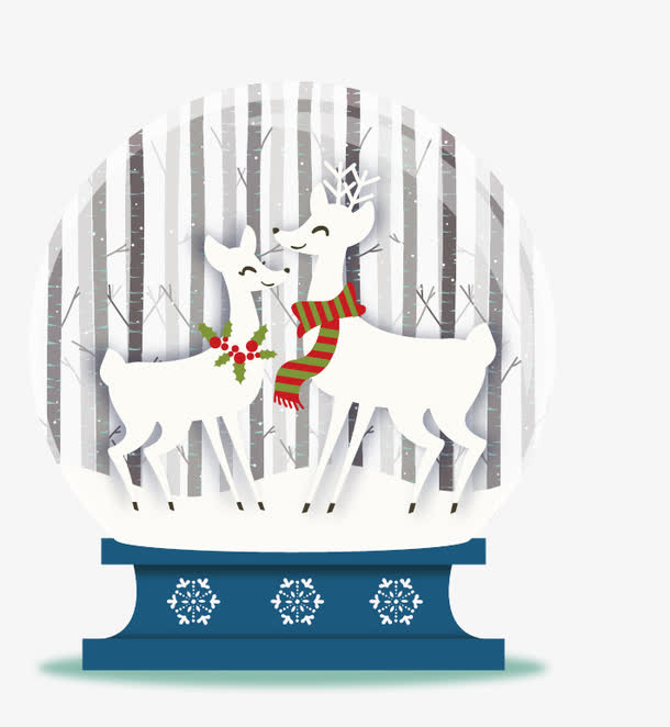 卡通矢量两只小鹿圣诞玻璃球