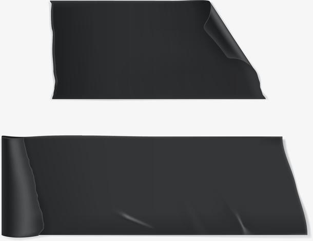 矢量手绘黑色胶带标签