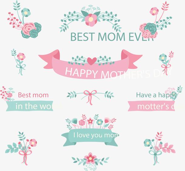 13款母亲节花卉与条幅矢量图