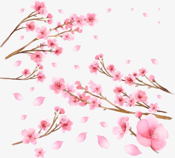 卡通手绘春天花枝装饰