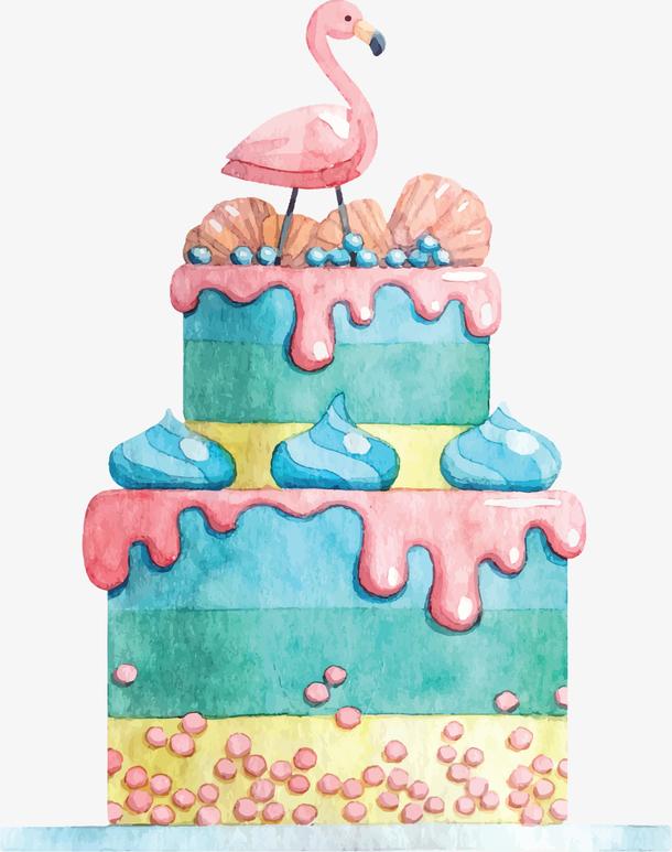 水彩手绘火烈鸟蛋糕