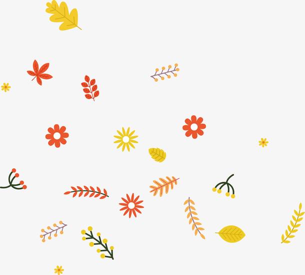 清新秋季飘散的叶子和花朵矢量图