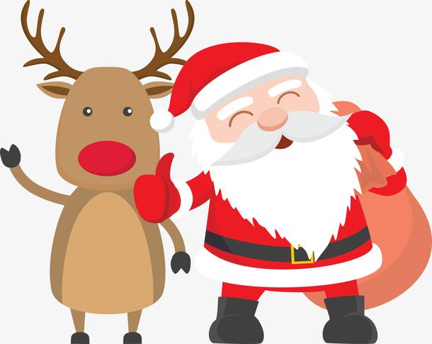 矢量圣诞老人与麋鹿