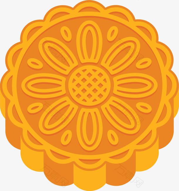 黄色花纹中秋月饼