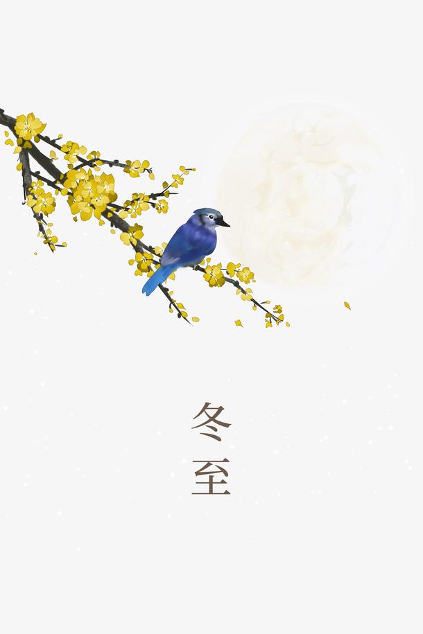 冬至花鸟装饰元素图