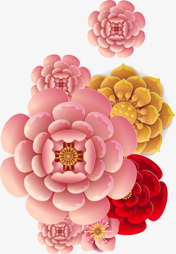 中国风立体剪纸花卉装饰图案