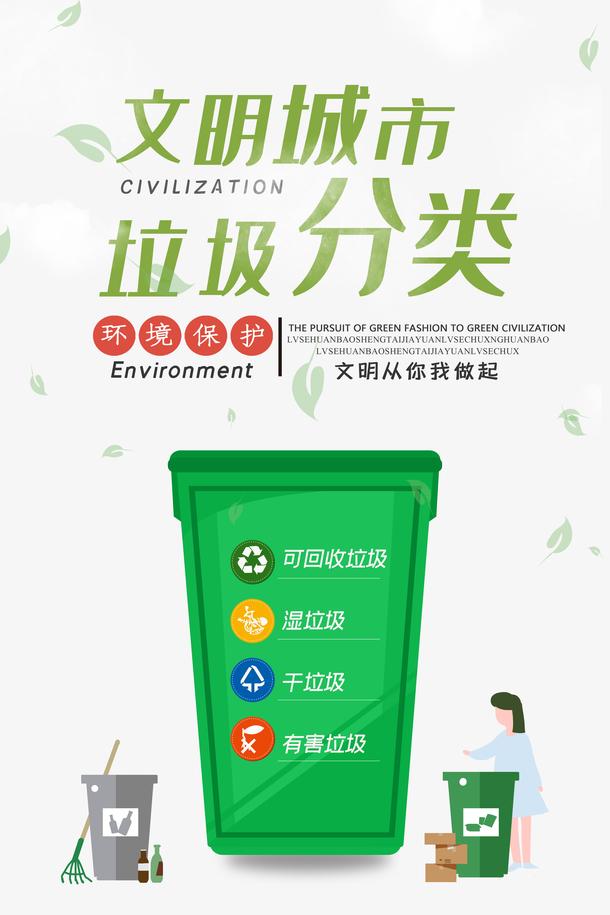 文明城市垃圾分类 垃圾桶