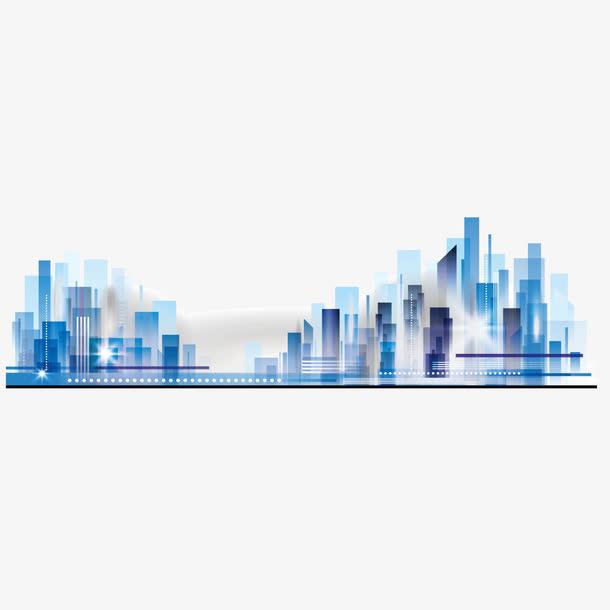 矢量蓝色城市建筑夜空景象