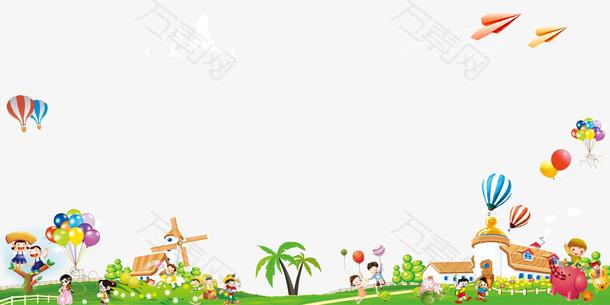 卡通手绘欢乐儿童节海报banner