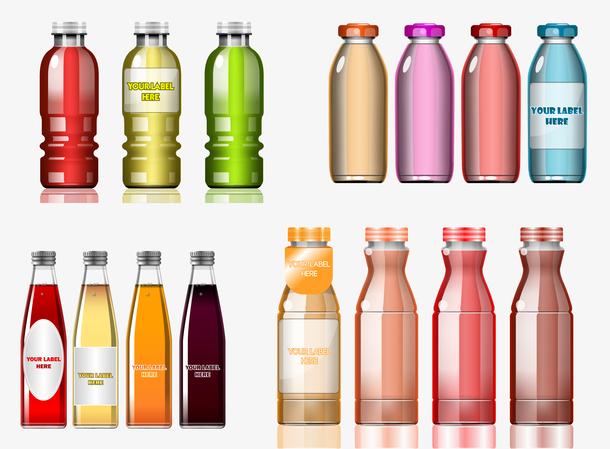 一组玻璃饮料瓶