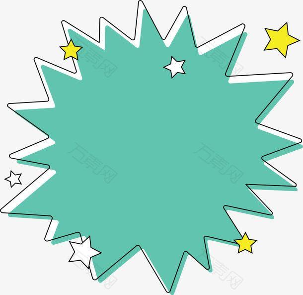 星星花纹绿色爆炸贴