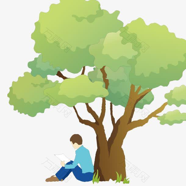 树下看书的男人