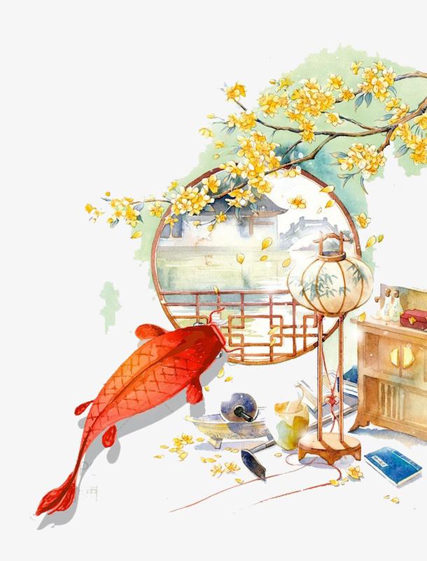 中国风金色桂花装饰画