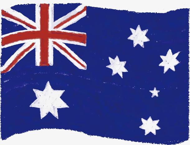 蓝色水彩手绘澳大利亚国旗
